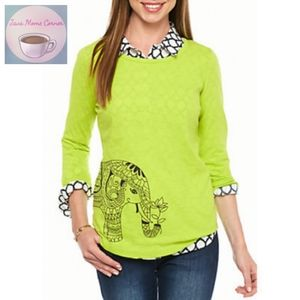 Crown & Ivy Elephant Sketch 3/4 Sleeve Shirt Green